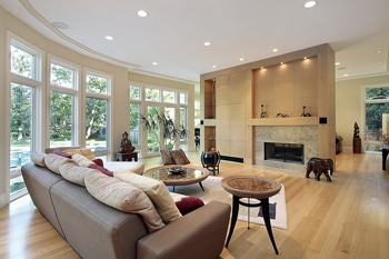 hardwood with fireplace